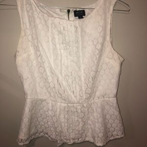 Nicole peplum white women's blouse